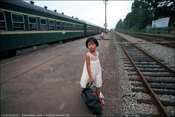 一位小妹妹在等待前去找父母的哥哥。(D3935)