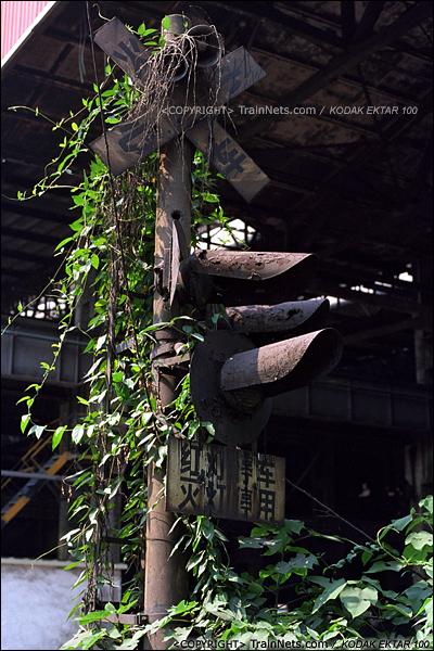 2013年8月10日。广州钢铁厂铁路。道口的警示灯被杂草吞没。(E0312)