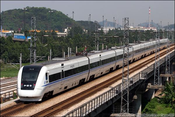 2007年4月18日。广州珠吉桥。第六次大提速,CRH1开始陆续投入广深线运营。(IMG-5489-070418)