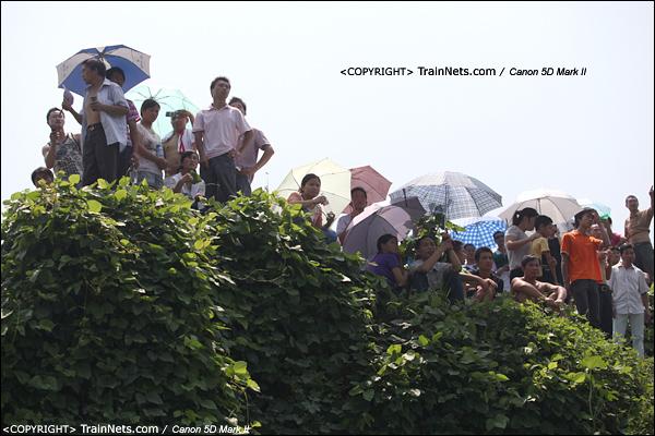 2011年7月24日。前往事发现场路上,穿过高速公路的桥底,便是一片小土坡能站人的地方都站满了人。(IMG-6923-110724)