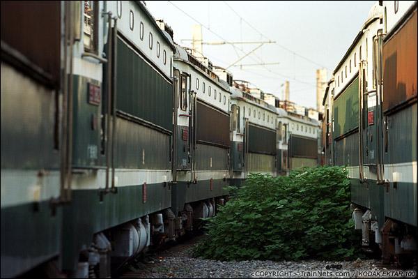2013年9月7日。韶关机务段。两串SS1停在机务段北头。(E0721)