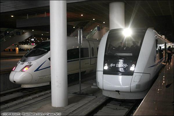 2013年12月17日。D2316次列车停靠在深圳北站一站台,一旁是广深港的CRH3C。(IMG-4642-131217)