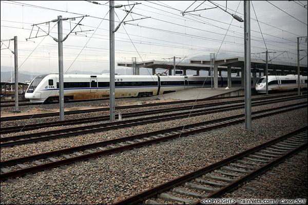 2013年12月17日。D2316次,列车离开潮汕站,另一列往西的列车进站,同时站台停着一列CRH3C。(IMG-5039-131217)