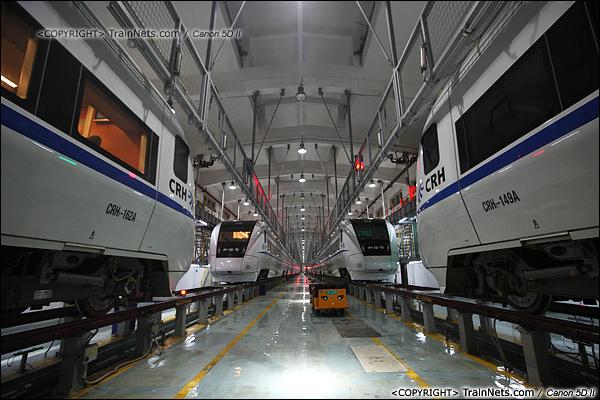 2014年1月17日。深圳动车所。库里停满四节8编组的CRH1型动车组。(IMG-1235-140117)