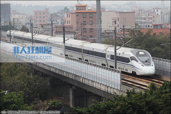 2014年2月6日。广州郭塘。CRH380D列车执行G6104次,广州南-长沙南空载试验列车。(IMG-6766-140206/ 火车仔)