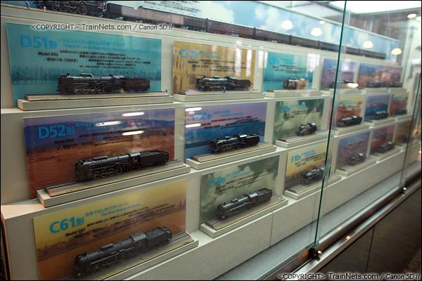 2012年2月2日。日本京都梅小路蒸汽机车博物馆。馆内的蒸汽机车模型。(IMG-6661-120202)