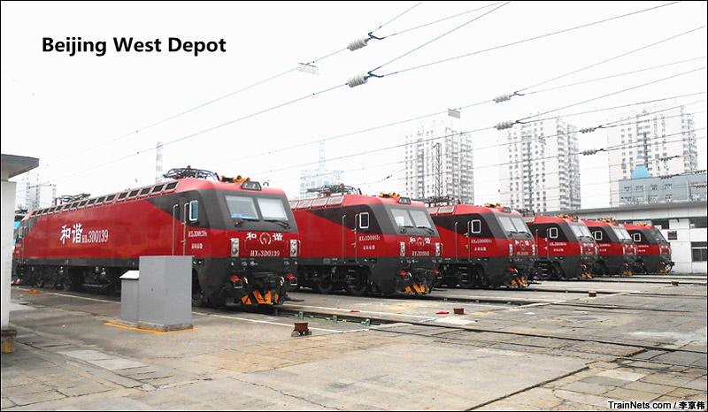 2014年6月21日拍摄于北京西机务段,七一调图前,北京西机务段已经聚集了大批HXD3D。