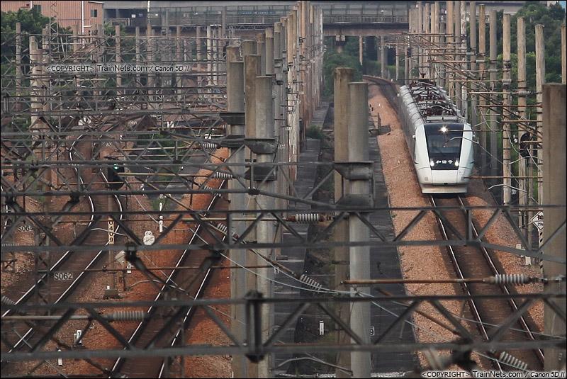 2014年8月9日。广州新塘。 D7120次,深圳-广州东行驶在广深线新塘段。(IMG-5845-140809)