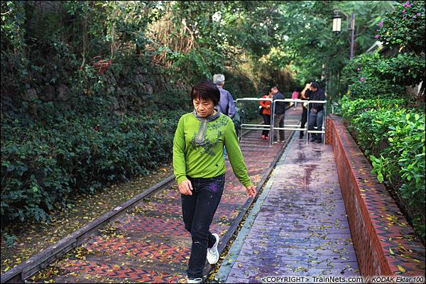 2013年12月。厦门铁路公园。 一位市民在绿树环绕中的铁路上晨跑。(E3006)