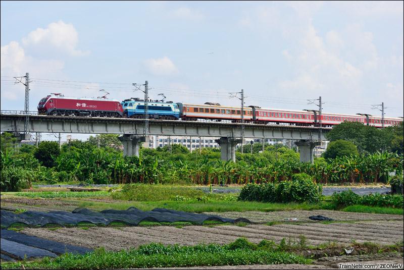 2014年09月14日。广州石井。广铁HXD1D试运转第二日。 HXD1D-0242+SS8-0133(作为补机)牵引T8352次列车接近江村站。