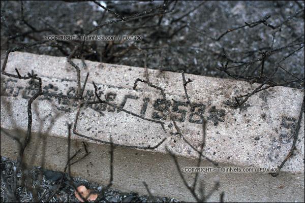 2015年1月。甘肃省白银矿区铁路。深部铜矿站一条已经拆除的支线上,仍保留着1958年时的枕木。(F0715)