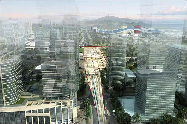 福田站效果图。周围高楼林立。