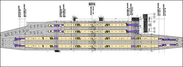 深圳福田站。月台平面图。