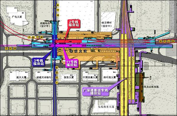 车站与地铁线联络平面图。
