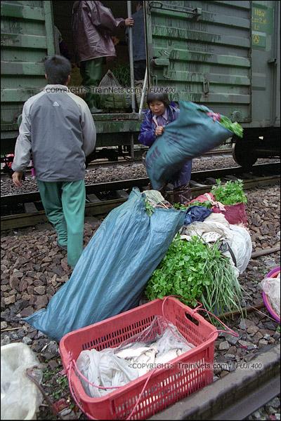 2007年2月,广州江高镇。清晨,开往广州的棚车通勤列车停在一个临时车站。来广州做生意的菜农从车上卸货。(A7436)