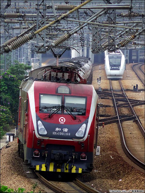2015年2月28日。深圳布吉。HXD1D牵引K106次,深圳-北京西。