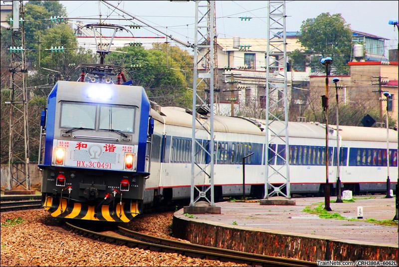 2015年3月8日。沪昆线。湘潭东站。HXD3C牵引回送的0K4076次,广州东-成都。