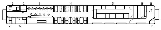 CA25C型客车平面图。1.配电室。2.储藏室。3.酒吧间。4.餐厅。6.储藏室。7.清洁用具室(TrainNet制作)