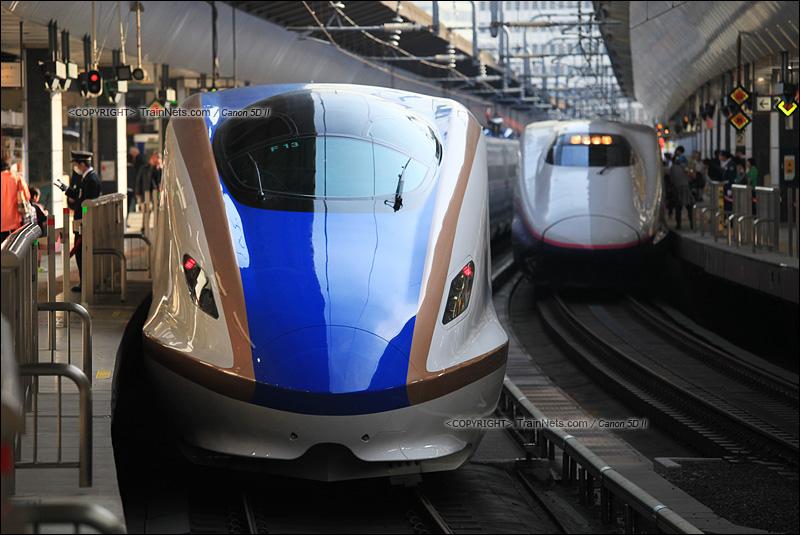 2015年3月30日。日本东京站。北陆新干线的E7系与E2系动车组。(IMG-5363-150330)