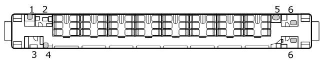 RZ125C型客车平面图。1.电话间。2.乘务员室。3.配电室。4.热水间。5.洗手池。6.厕所(TrainNet制作)