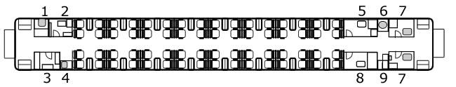 RZ2 25C播音车平面图。1.电话间。2.乘务员室。3.配电室。4.热水间。5.播音室。6.洗手池。7.厕所。8.车长室。9.清洗间。(TrainNet制作)