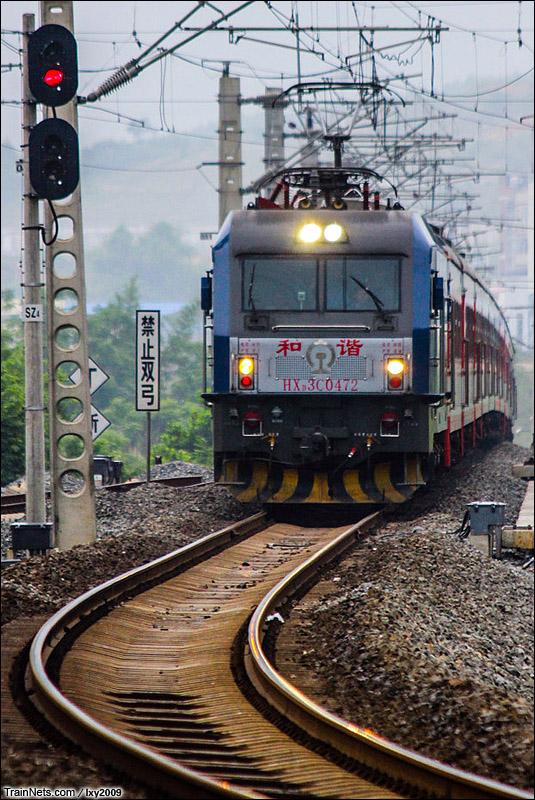 2015年5月24日。广西南宁。湘桂线802公里处。HXD3C牵引K9305次,南宁-百色。(图/lxy2009)