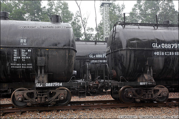 2015年3月31日。广州石化工业站。GLK型沥青罐车。(IMG-4284-150531/火车仔)