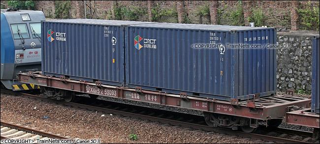 2013年9月。广东韶关。X6BK型集装箱专用平车。(IMG-5896-130907)