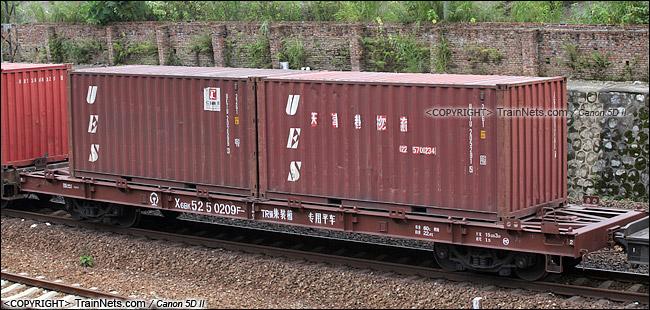2013年9月。广东韶关。X6BK型集装箱专用平车。(IMG-5904-130907)