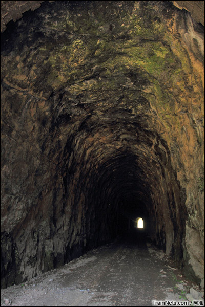 摺嶺隧道。洞身居然是沒襯砌的,直接裸露岩層。(图/阿准)