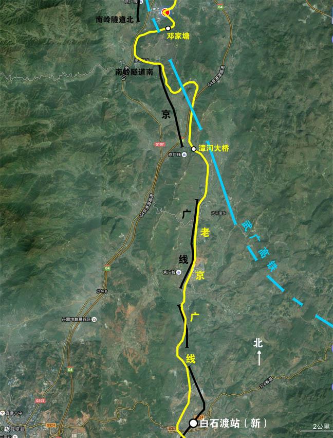 京广线走向图。南岭隧道-白石渡。