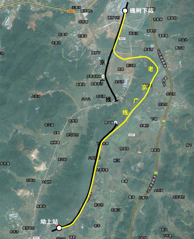 京广线走向图。槐树下-坳上。