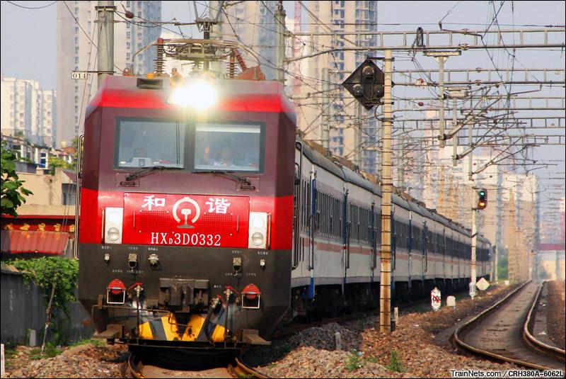 2015年7月12日。石家庄中储桥。 HXD3D牵引T41次,北京西-西安。(图/CRH380A-6062L)