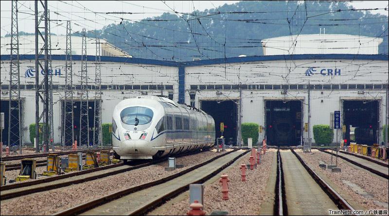 2015年5月。广州南动车所。库里的CRH3C型动车组。(图/广铁德段)