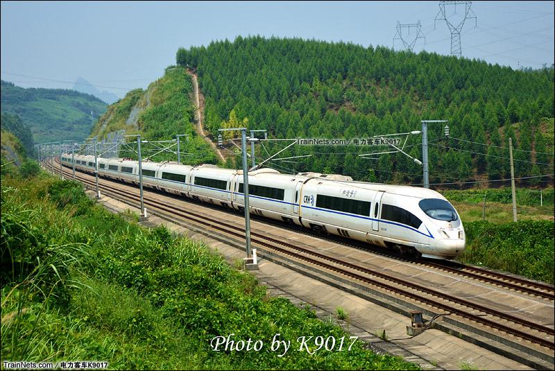 2015年9月。武广高铁。韶关曲江。重联CRH3C通过白沙乡。(图/电力客车K9017)