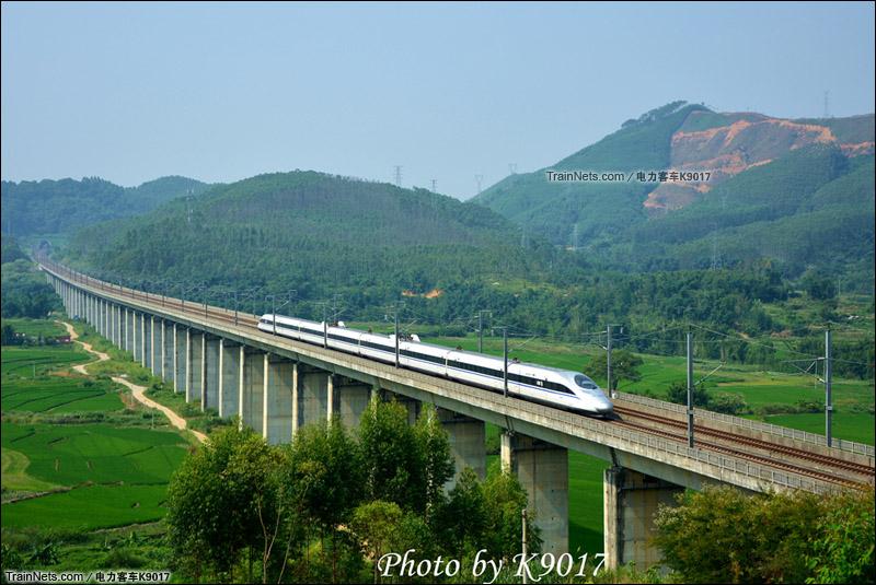 2015年9月。武广高铁。韶关曲江,CRH380A通过白沙乡。(图/电力客车K9017)