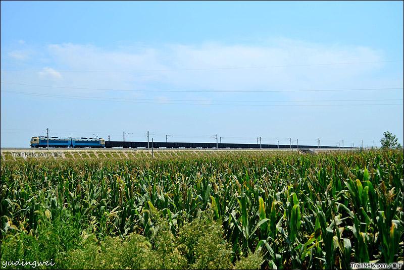 2015年8月22日。SS4G牵引货车经襄北六场联7线去郜营方向。(图/鱼丁)