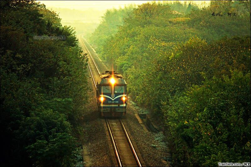 2015年10月23日。湖南衡阳。湘桂铁路,DF4C夕阳下通过三塘-朱家堰区间。(图/阿文)
