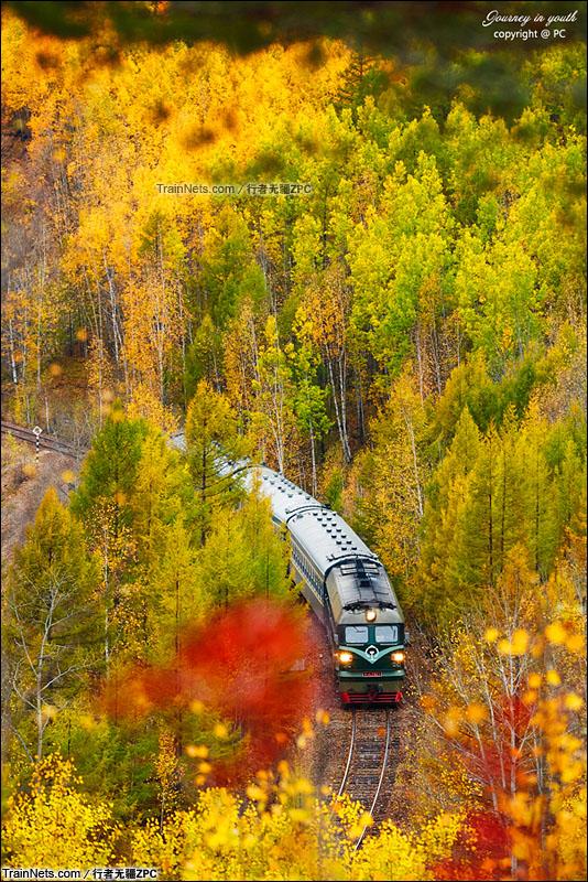 2015年9月。林碧线。DF4B牵引小票穿行在五色山中。(图/行者无疆ZPC)