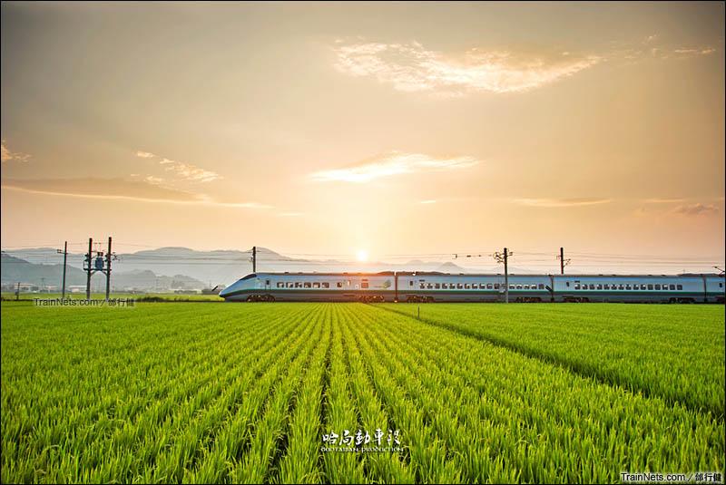 2013年8月11日。日本,奥羽本线,山形-藏王区间。山形新干线E3系2000型翼号列车。(图/邰行健)