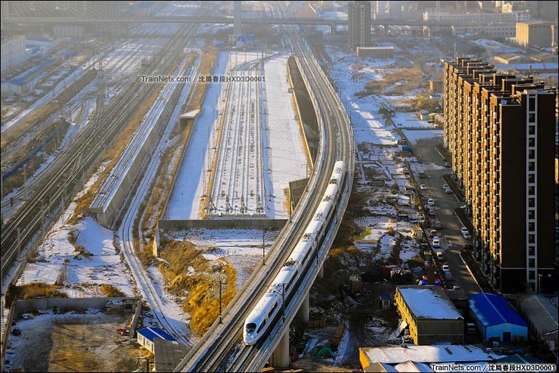 2016年1月11日。长春站东咽喉,长珲客运专线K2+500处,CRH380BG型动车组。(图/沈局春段HXD3D0001)