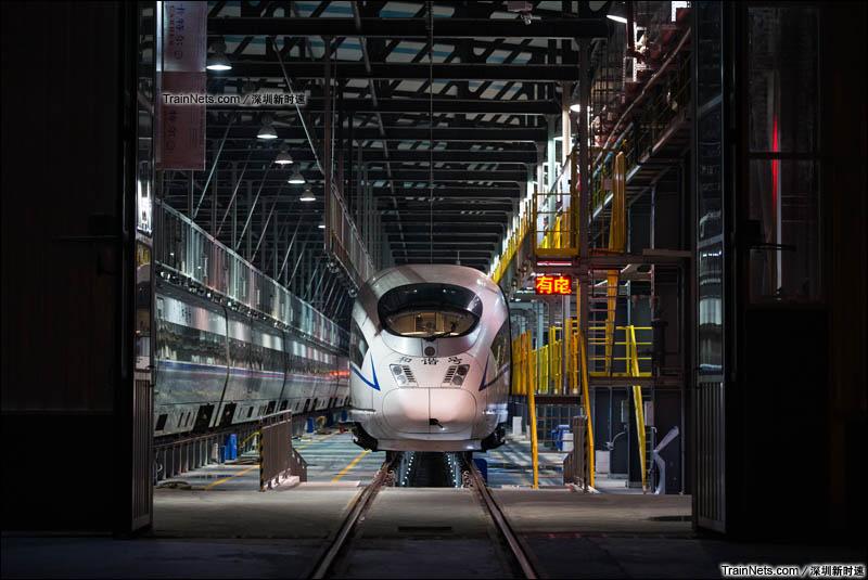 2016年1月31日凌晨,深圳动车所内灯火通明,厦深线、京广深港高铁的动车组在此进行清洁、维护、修理工作。(图/深圳新时速)