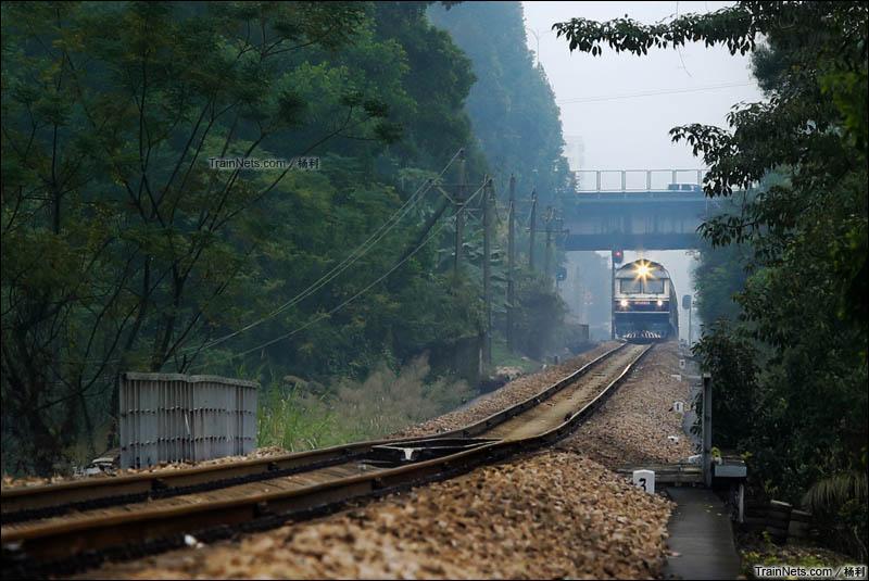 2016年1月16日。深圳民治。平南铁路。DF11-0013牵引K237次驶出坂田站。(图/杨利)
