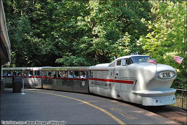 """1958年在波特兰的华盛顿动物园铁路开通的""""动物园观光特快""""。(图/Steve Morgan/Wikipidea)"""