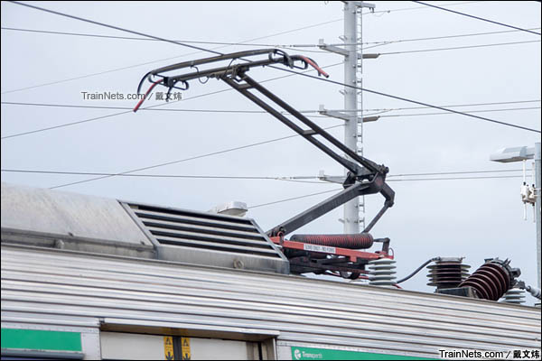 2016年3月。珀斯轨道交通A系电力动车组。受电弓。(图/戴文炜)