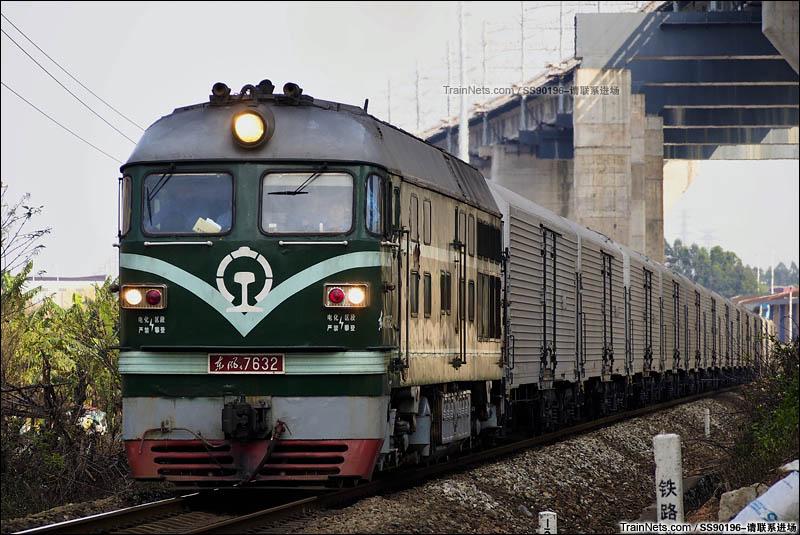 2016年3月27日。广东佛山小塘。广茂线。DF4B-7632牵引一列保温车通过。(图/SS90196-请联系进场)