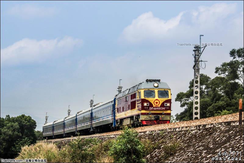 2016年4月3日。广西沿海铁路。沿海铁路特色涂装25G客车执行K9331次(贵港-博白)。(图/沿海公司白边瓜)