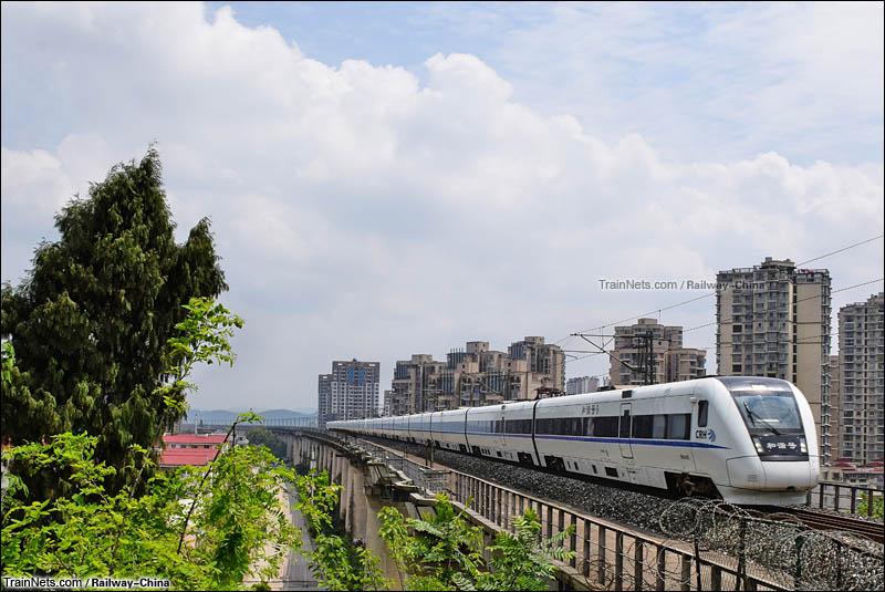 2016年4月11日。达成线下行。D5175次(广安南-成都东)通过遂宁市涪江大桥。(图/Railway-China )