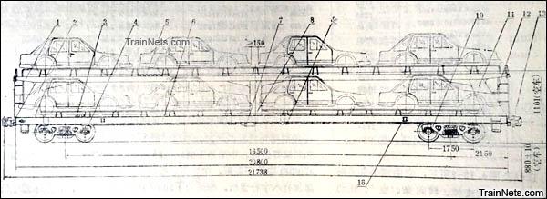 JSQ1型双层汽车运输车。侧面图。(图/国产铁路货车)