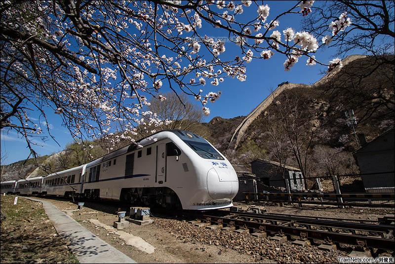 2016年4月9日。京张铁路。北京市郊铁路S2线和谐长城号列车驶出长城脚下的青龙桥车站。(图/刘俊良)